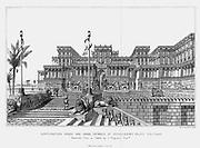 Reconstruction of the north-eastern façade of Sennacherib's (d681BC) palace (Kouyunijik). Assyrian. From Austen Layard 'Discoveries in the Ruins of Nineveh and Babylon', London, 1853.