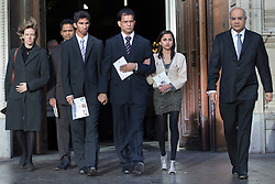 © licensed to London News Pictures. London, UK. 15/12/2012. The son Junal (third left), husband Ben Barboza (centre) and The daughter Lisha (second right), of nurse Jacinta Saldanha leaving Westminster Cathedral in London after a memorial service with Keith Vaz (right) held for Jacinta Saldanha who committed suicide. Photo credit: Tolga Akmen/LNP
