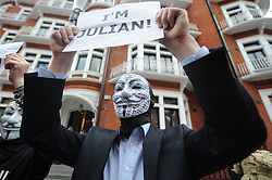 © Licensed to London News Pictures. 16/08/2012. London,UK.Supporters of Julian Assange  in front on the Ecuador embassy today in London    .  Photo credit : Thomas Campean/LNP