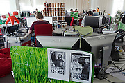 Moscow, Russia, 26/03/2012..Soviet and Star Wars posters inside the Silicon Valley style headquarters of Russian internet search company Yandex.