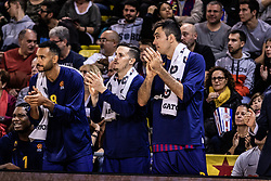 November 1, 2018 - Barcelona, Barcelona, Spain - Adam Hanga, #8, Thomas Heurtel, #13 and Pierre Oriola, #18 of FC Barcelona Lassa in actions during EuroLeague match between FC Barcelona Lassa and Maccabi Fox Tel Aviv  on November 01, 2018 at Palau Blaugrana, in Barcelona, Spain. (Credit Image: © AFP7 via ZUMA Wire)