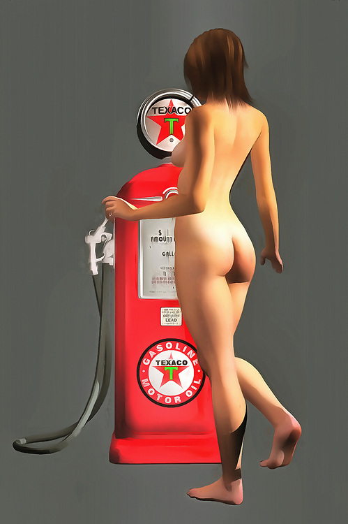 Early Texaco gas pumps featured iconic imagery and colors. You can bring those colors back to striking life with this impressive fine art piece. As a provocative contrast to the gas pump, we can see a nude woman facing away from us. Her nude backside is combined with a demure pose, and we can only imagine what might be happening in this compelling, unique piece. This is an excellent example of pop art, and it can make for a welcome addition to just about any room or space you can imagine. There is a unique energy to this piece that makes it very appealing. .<br /> <br /> BUY THIS PRINT AT<br /> <br /> FINE ART AMERICA<br /> ENGLISH<br /> https://janke.pixels.com/featured/texaco-pump-jan-keteleer.html<br /> <br /> WADM / OH MY PRINTS<br /> DUTCH / FRENCH / GERMAN<br /> https://www.werkaandemuur.nl/nl/shopwerk/Pop-Art---Texaco-Pomp/437984/134