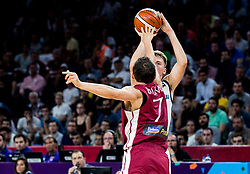 Janis Blums of Latvia vs Luka Doncic of Slovenia during basketball match between National Teams of Slovenia and Latvia at Day 13 in Round of 16 of the FIBA EuroBasket 2017 at Sinan Erdem Dome in Istanbul, Turkey on September 12, 2017. Photo by Vid Ponikvar / Sportida