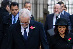 © Licensed to London News Pictures. 26/11/2019. London, UK. FILE PICTURE. Leader of the Labour Party, Jeremy Corbyn (L) and his wife, Laura Alvarez (R) with Chief Rabbi Ephraim Mirvis (back - R) walk through Downing Street to attend the Remembrance Sunday Ceremony at the Cenotaph in Whitehall on 10th November 2019. Chief Rabbi Ephraim Mirvis yesterday spoke to criticise anti-Semitism in the Labour Party, including an alleged 130 cases of anti-semitism that have not been dealt with. Mr Corbyn will launch his party's 'race and faith manifesto' this morning, which includes a plan to hold an inquiry into far-Right extremism. Photo credit: Vickie Flores/LNP