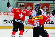 04.April 2012; Rapperswil-Jona; Eishockey - Schweiz - Finnland;<br />  Damien Brunner und Kevin Romy (SUI) jubeln nach dem 1:0 (Thomas Oswald)