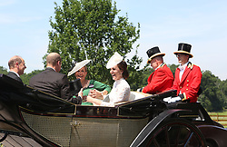 The Duke and Duchess of Cambridge with the Earl and Countess of Wessex getting into their carriage to take part in the parade during Royal Ascot at Ascot Racecourse.