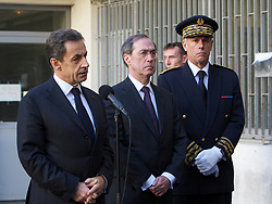 File photo - French President Nicolas Sarkozy flanked by French Interior Minister Claude Gueant and Regional Prefect Hugues Parant speaks to the medias outside the police headquarter in Marseille, southern France, on December 8, 2011. Former French President Nicolas Sarkozy was in police custody on Tuesday morning March 20, 2018, an official in the country's judiciary said. He was to be questioned as part of an investigation into suspected irregularities over his election campaign financing, the same source added. The probe related to alleged Libyan funding for Sarkozy's 2007 campaign, Le Monde newspaper reported. Photo by Patrice Coppee/ABACAPRESSS.COM