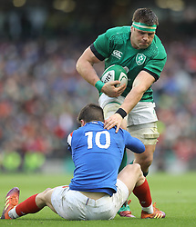 Ireland's CJ Stander and France's Romain Ntamack during the Guinness Six Nations match at the Aviva Stadium, Dublin.
