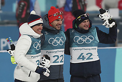 February 11, 2018 - Pyeongchang, GANGWON, SOUTH KOREA - Feb 11, 2018-Pyeongchang, South Korea-Michal KRCMAR of Czech Republic, Arnd PEIFFER of Germany, Dominik WINDISCH of Italy win ceremony after match during an Olympic Biathlon Mens Sprint 10Km at Biathlon Center in Pyeongchang, South Korea. (Credit Image: © Gmc via ZUMA Wire)