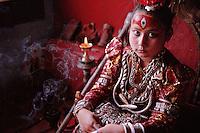 Nepal - Vallée de Kathmandu - Ville de Patan - Kumari - Déesse vivante