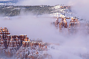 Rock formations in fog below Sunrise Point after a winter storm, Bryce Canyon National Park, Utah