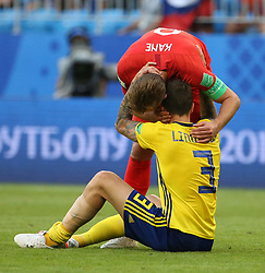 SAMARA, July 7, 2018  Harry Kane (top) of England hugs Victor Lindelof of Sweden after the 2018 FIFA World Cup quarter-final match between Sweden and England in Samara, Russia, July 7, 2018. England won 2-0 and advanced to the semi-finals. (Credit Image: © Li Ming/Xinhua via ZUMA Wire)