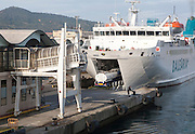 Truck boarding Balearia vehicle ferry at Ceuta, Spanish territory in north Africa, Spain