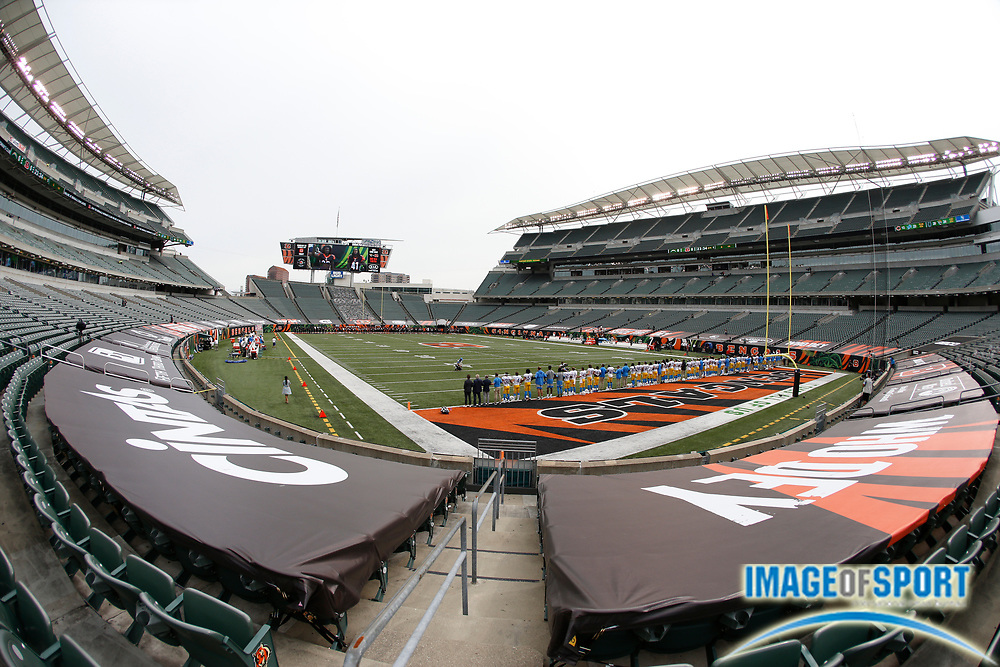 A general overall view of Paul Brown Stadium during the playing of the Black National Anthem before the NFL game between the Los Angeles Chargers and the Cincinnati Bengals, Sunday, Sept. 13, 2020, in Cincinnati.