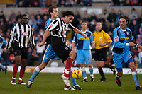 Photo: Alan Crowhurst.<br />Wycombe Wanderers v Grimsby Town. Coca Cola League 2.<br />19/11/2005. <br />Michael Reedy scores for Grimsby.