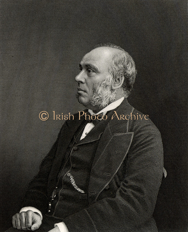 William Henry Smith (1825-1891), son of William Henry Smith (1792-1865), English businessman and politician. He joined his father's newsagent business in 1846 and introduced the selling of books and newspapers at railway stations. Elected Conservative Member of Parliament for Westminster in 1868. In 1877 he was appointed First Lord of the Admiralty and is caricatured as Sir Joseph Porter who, in the Gilbert and Sullivan operetta 'HMS Pinafore', sings 'I always voted at my party's call,/And I never thought for myself at all./I thought so little, they rewarded me/By making me the Ruler of the Queen's Navee.'   During his three years is this position he was known as Pinafore Smith.   Engraving c1885.