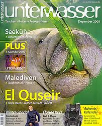 Unterwasser Magazine, December 2008, cover use, Germany, Image ID: Florida-Manatee-0013