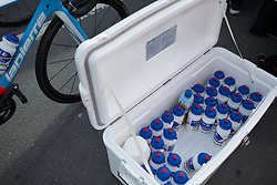 FDJ Nouvelle Aquitaine Futuroscope water bottles are ready for the Liege-Bastogne-Liege Femmes - a 135.5 km road race, between  Bastogne and Ans on April 23, 2017, in Liege, Belgium.