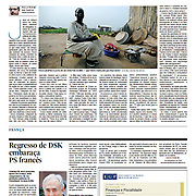 """Tearsheet (Feature story and photo) of """"South Sudan: O primeiro dia do Estado n.193"""" published in Expresso"""