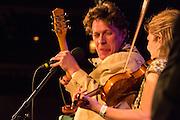 Alex Battles and Kari Denis on stage at the Brooklyn Folk Music Festival.