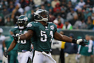 PHILADELPHIA - NOVEMBER 18: Takeo Spikes #51 of The Philadelphia Eagles frustrated in the rain during the game against the Miami Dolphins on November 18, 2007 at Lincoln Financial Field in Philadelphia, Pennsylvania.