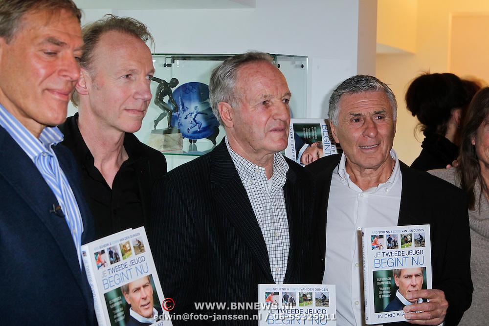 """NLD/Amsterdam/20111109- Boekpresentatie Ard Schenk """" Je tweede Jeugd begint nu"""", Ard Schenk, Edwin van den Dungen, Johan Cruijff, Tom Okker, Sjaak Swart"""