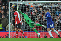 Football - 2017 / 2018 Premier League - Chelsea vs. Southampton<br /> <br /> Southampton goalkeeper, Fraser Forster, makes a one handed save at Stamford Bridge.<br /> <br /> COLORSPORT/ANDREW COWIE