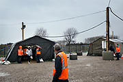 Calais, France, 20 februari 2015, Situation of the migrants of Calais. Everyday from 5pm migrants can have one hot meal served at Jules Ferry.