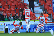 GOAL Alfie May celebrates scoring 1-0 during the EFL Sky Bet League 1 match between Doncaster Rovers and Rochdale at the Keepmoat Stadium, Doncaster, England on 1 January 2019.