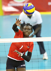 Yvonne Wavinya of Kenya spikes against Rwanda during their U23 Africa Nations Championship at Safaricom Stadium Stadium in Nairobi on October 27, 2016. Kenya won 3-1.  (Credit Image: RealTime Images)