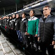 Bursaspor's coach Senol Gunes (R) during the Turkish soccer super league match Bursaspor between Fenerbahce at the Ataturk Stadium in Bursa Turkey on Monday, 24 November 2014. Photo by Aykut AKICI/TURKPIX