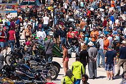 Photographer Chopper Dave Droege working the annual Boardwalk Bike Show during Daytona Bike Week. FL. USA. Friday March 16, 2018. Photography ©2018 Michael Lichter.