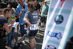 Chloe Hosking (AUS) of Wiggle Hi5 Cycling Team gives an interview after winning the La Course, a 89 km road race in Paris on July 24, 2016 in France.