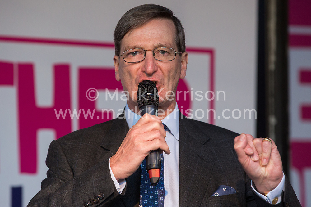 London, UK. 19 October, 2019. Dominic Grieve, Independent MP for Beaconsfield, addresses hundreds of thousands of pro-EU citizens at a Together for the Final Say People's Vote rally in Parliament Square as MPs meet in a 'super Saturday' Commons session, the first such sitting since the Falklands conflict, to vote, subject to the Sir Oliver Letwin amendment, on the Brexit deal negotiated by Prime Minister Boris Johnson with the European Union.