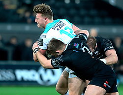 Connacht's Peter Robb under pressure from Ospreys' Scott Otten<br /> <br /> Photographer Simon King/Replay Images<br /> <br /> Guinness PRO14 Round 19 - Ospreys v Connacht - Friday 6th April 2018 - Liberty Stadium - Swansea<br /> <br /> World Copyright © Replay Images . All rights reserved. info@replayimages.co.uk - http://replayimages.co.uk
