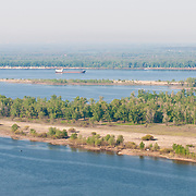 Rusty barge near Samara on the Volga river