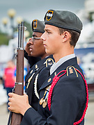 08 AUGUST 2019 - DES MOINES, IOWA: The JROTC Honor Guard from the Des Moines Public School's Central Campus posts the colors at the opening ceremony of the Iowa State Fair. The Iowa State Fair is one of the largest state fairs in the U.S. More than one million people usually visit the fair during its ten day run. The 2019 fair run from August 8 to 18.           PHOTO BY JACK KURTZ