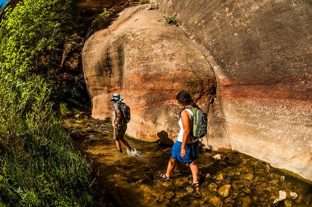 People hiking to Kanarra Creek Falls near Cedar City, Utah USA