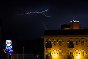 A thunderstorm and lightning over a love hotel near Yamato, Kanagawa, Japan. Wednesday September 9th 2020