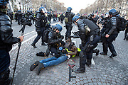 Mcc0086782 . Daily Telegraph<br /> <br /> DT News<br /> <br />  Scenes on the Champs Elysee as protests turn violent in Paris for another weekend .<br /> <br /> Paris 8 December  2018