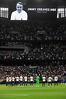 Football - 2021 / 2022  Premier League - Tottenham Hotspur vs Chelsea - Tottenham Hotspur Stadium - Sunday 19th September 2021<br /> <br /> A minutes applause for the late Jimmy Greaves of Tottenham before the match<br /> <br /> Credit : COLORSPORT/Andrew Cowie