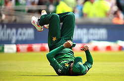 Pakistan's Mohammad Amir celebrates catching out Afghanistan's Mohammad Nabi during the ICC Cricket World Cup group stage match at Headingley, Leeds.