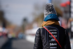 Soigneur, Geerike Schreurs waits for the rest of her team to cross the line at Le Samyn des Dames 2018 - a 103 km road race on February 27, 2018, from Quaregnon to Dour, Belgium. (Photo by Sean Robinson/Velofocus.com)