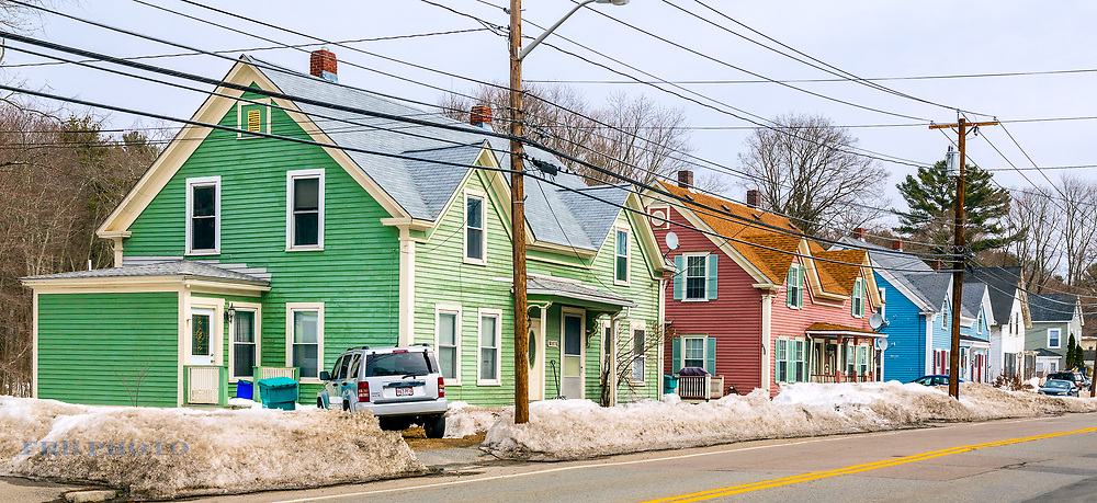 Duplexes after a snowstorm in a small town in Central Massachusetts.