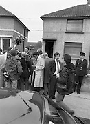 "John O'Grady Rescued By Gardai.   (R67)..1987..05.11.1987..11.05.1987..5th November 1987..After being kidnapped from his home in Cabinteely, Co Dublin, John O'Grady was finally rescued after twenty one days in captivity. he was located in a house inCarnlough Road, Cabra West, Dublin. During his ordeal Mr O""Grady was mutilated by the kidnappers led by Dessie O'Hare to apply pressure on his family to pay the ransom sought. In an ensuing gun battle with the kidnappers a detective garda was shot and seriously wounded. In the chaos that followed the kidnappers escaped and were not all captured for a further three weeks after a massive manhunt...Image shows Supt Reynolds, the officer in charge of the kidnap case, speaking with reporters outside he house in Carnlough Road, Cabra."