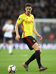 """Watford's Craig Cathcart during the Premier League match at Wembley Stadium. London. PRESS ASSOCIATION Photo. Picture date: Monday April 30, 2018. See PA story SOCCER Tottenham. Photo credit should read: Nick Potts/PA Wire. RESTRICTIONS:  EDITORIAL USE ONLY No use with unauthorised audio, video, data, fixture lists, club/league logos or """"live"""" services. Online in-match use limited to 75 images, no video emulation. No use in betting, games or single club/league/player publications."""