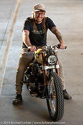 Christian Newman with his 1978 Harley-Davidson split-rocker Shovelhead turbo custom from Buffalo, New York after the Handbuilt Show. Austin, Austin USA. Sunday, April 14, 2019. Photography ©2019 Michael Lichter.