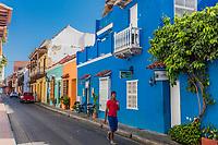 Cartagena , Colombia  - March 9, 2017 : Colorful streets of Centro Historico<br /> area of Cartagena de los indias Bolivar in Colombia South America