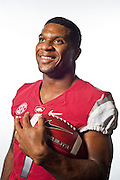 Aug 4, 2012; Fayetteville, AR, USA;  Arkansas Razorback running back Knile Davis (7) poses for a photo during media day at the Broyles Athletic Center.  Mandatory Credit: Beth Hall-US PRESSWIRE