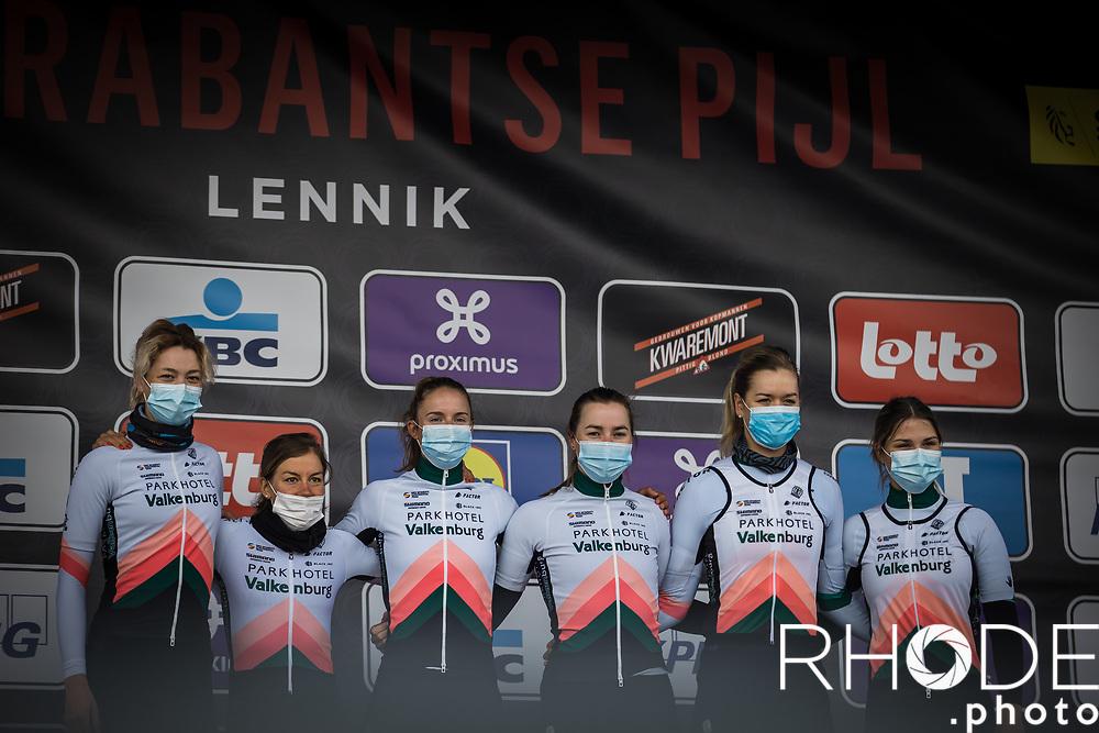 Team Parkhotel Valkenburg pre race team presentation<br /> <br /> Women's Elite Brabantse Pijl 2021 <br /> 1 Day Race: Lennik - Overijse 127km<br /> <br /> ©Rhode.Photo